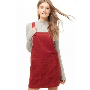NWT Red Corduroy Overall Dress